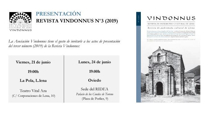PRESENTACIÓN DE LA REVISTA VINDONNUS Nº3 (2019)